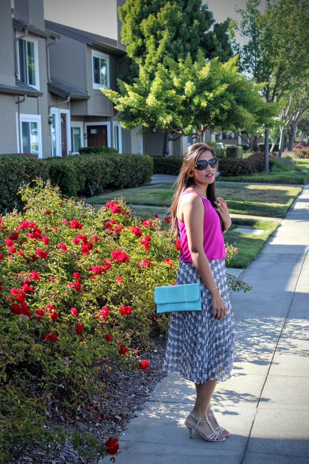 White Midi Skirt and Pink Top 4
