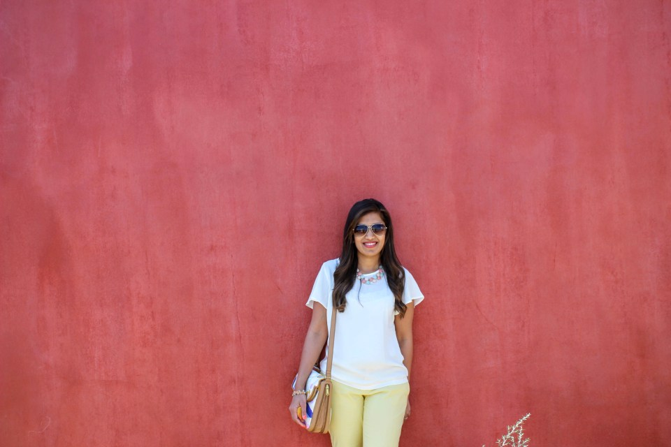 Yellow Pants White Top 4