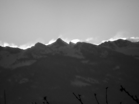 Peaks at Sunrise Black & White