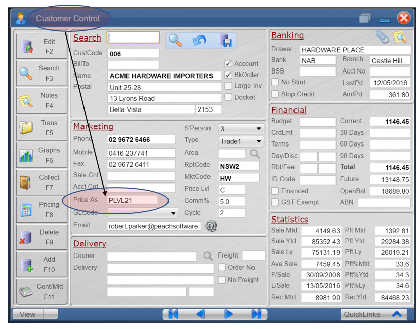 Customer Control Screen with Focus on Customer Speecial Pricing Price Level Price As