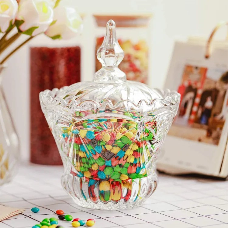 Glass Candy Dish with Lid | Peachy Shop