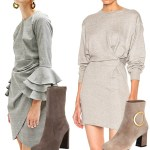 gray dresses booties