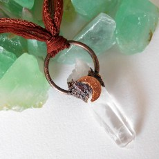 Raw Crystal Crescent Moon Pendant