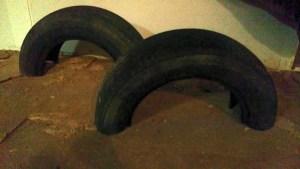 Tire cut in half