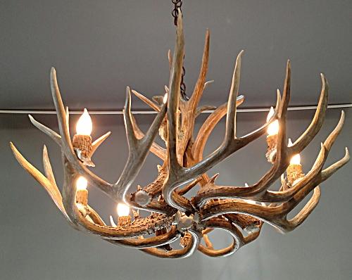 Farmhouse real antler chandelier large 8 lights l pinecone mule deer antler chandelier mozeypictures Gallery