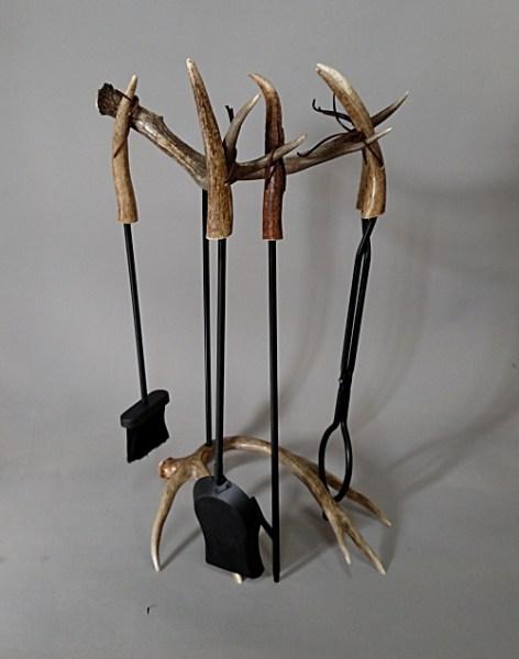 #80 Fireplace Tool Set Mule Deer Antlers