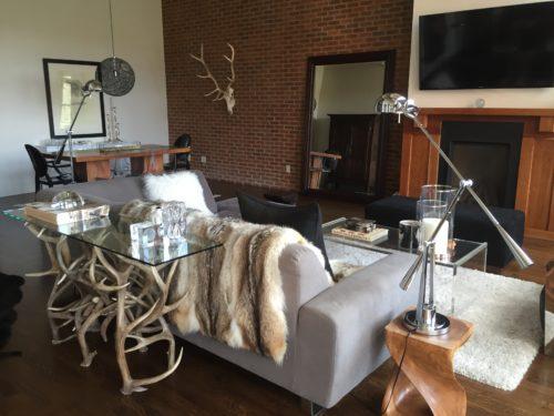 Aspen antler sofa table mountain modern design condo