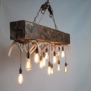 "mountain modern timber chandelier ""Timberline Falls"" antler chandelier"