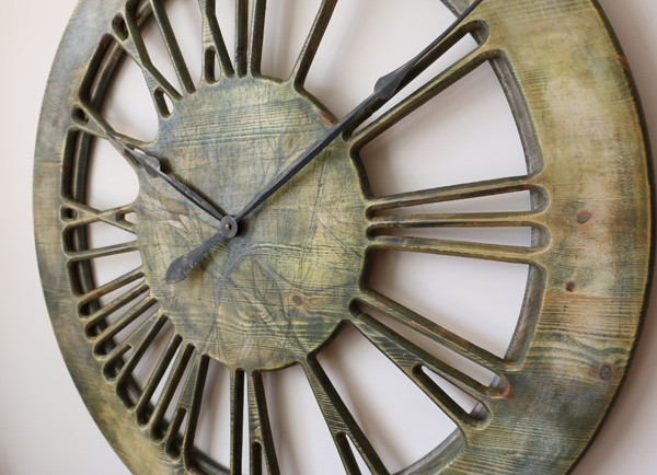 Very Large Modern Clock Displaying Hand Carved Roman Numerals