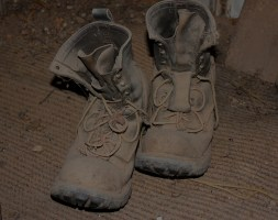 Fred Bodel's mining boots - he and them are now retired.