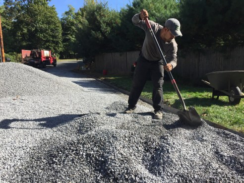 Donato spreading gravel