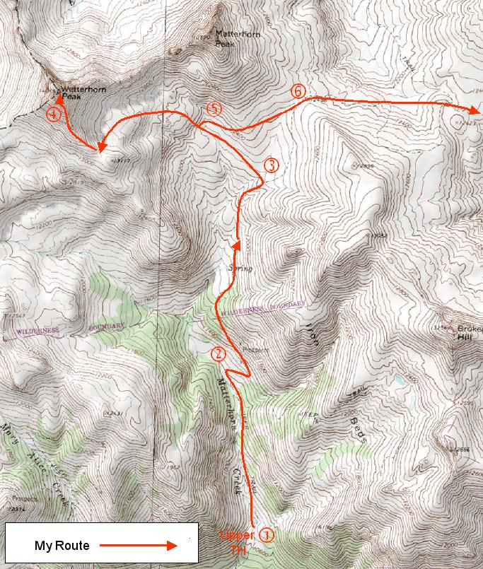 My route from the Matterhorn Creek trailhead to Wetterhorn Peak