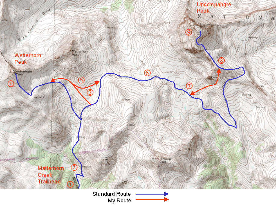 My route map for summiting Wetterhorn and Uncompahgre