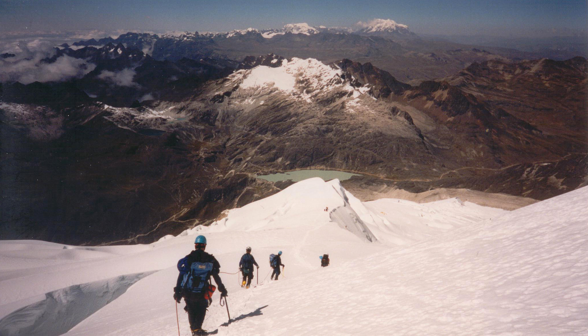 The descent to High Camp with Basecamp in the distance on the far side of the lake.