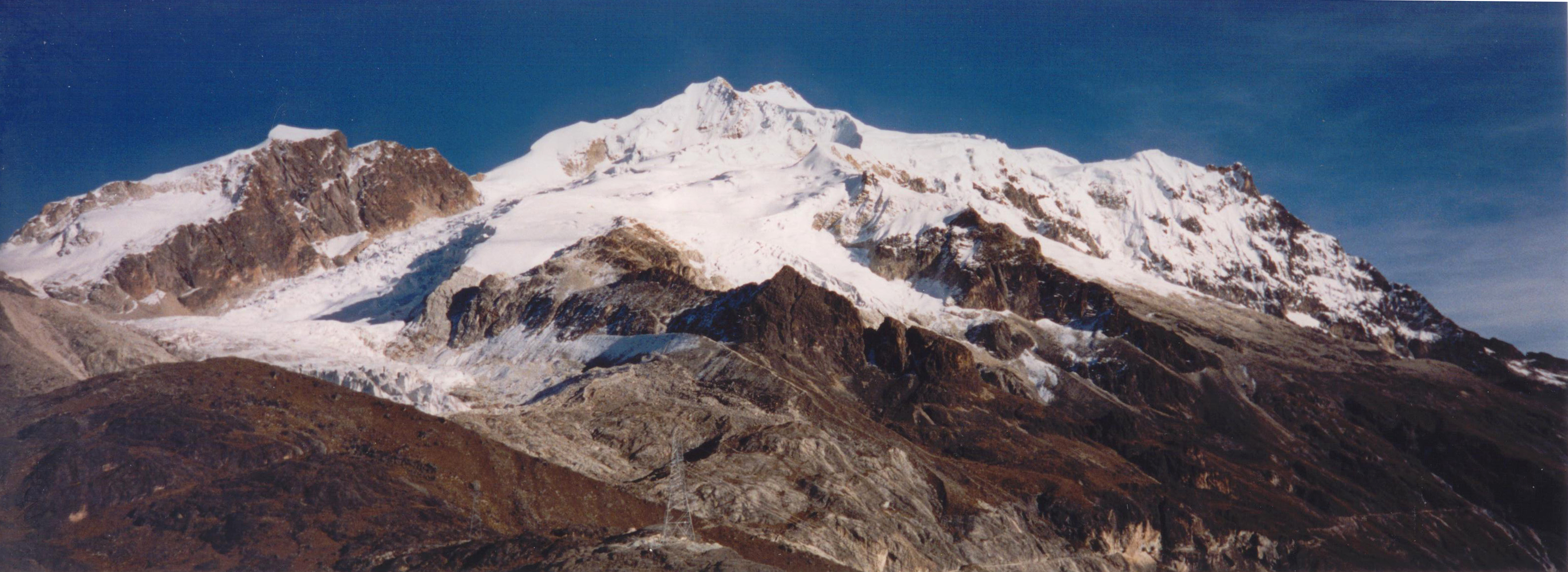A view of Huayna Potosi from Basecamp.