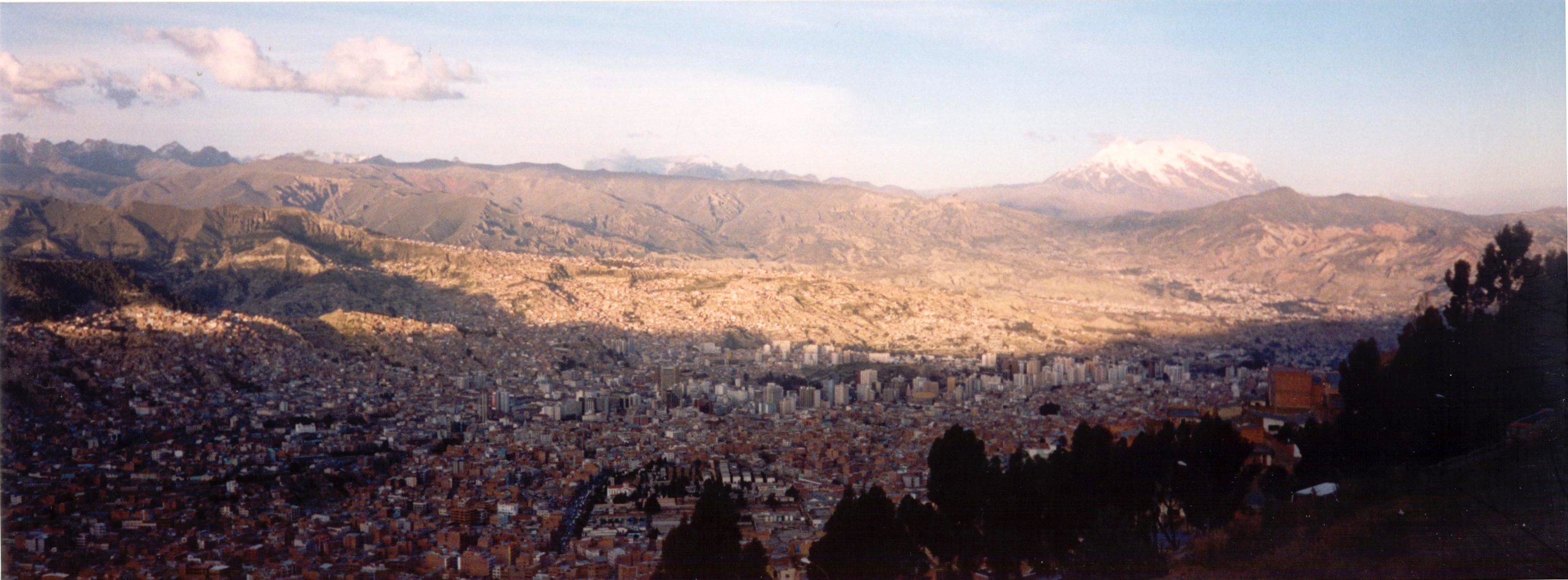 Looking down into La Paz with Illimani off in the distance