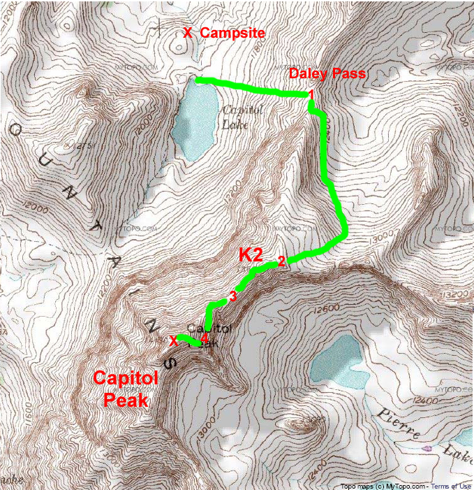 Our ascent route for Capitol Peak