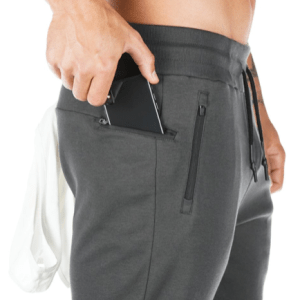 Jogger Pants Workout Gym Side Zipper Pockets Slim Fit