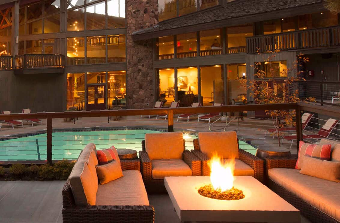 Hotel Terra seating below Teton Village provides comfort and rustic stylings.