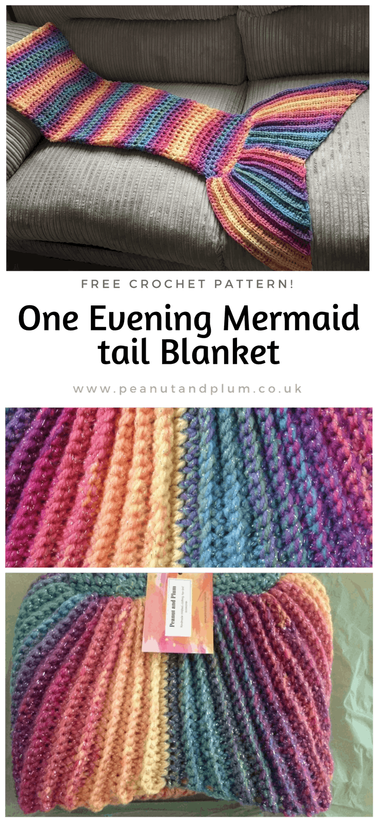 One evening Crochet Mermaid tail blanket pattern - Peanut and Plum
