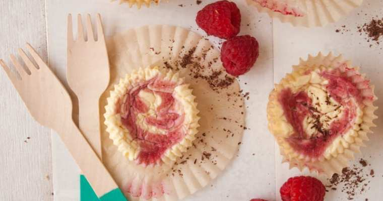Healthy Raspberry Swirl Mini Protein Cheesecakes