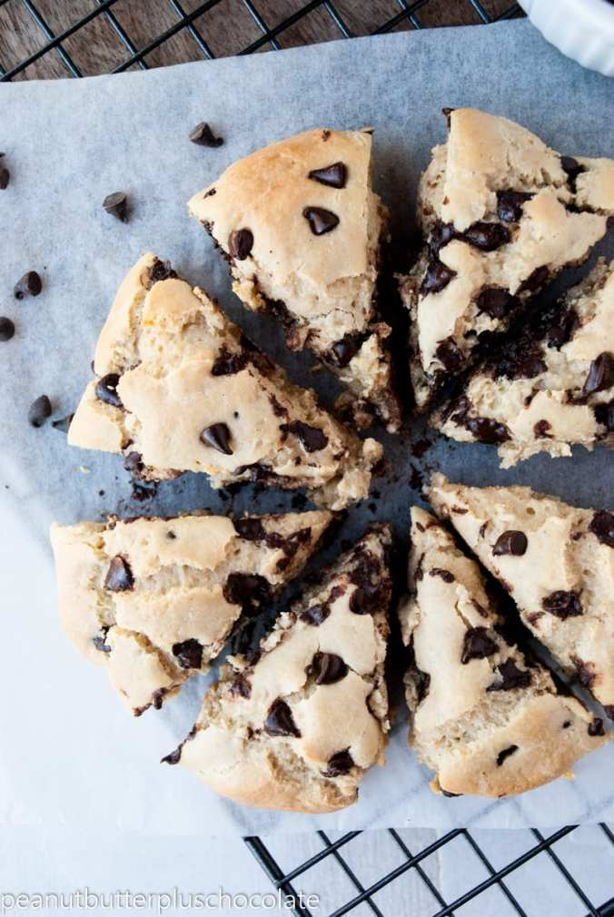 Healthy Chocolate Chip Oat Scones