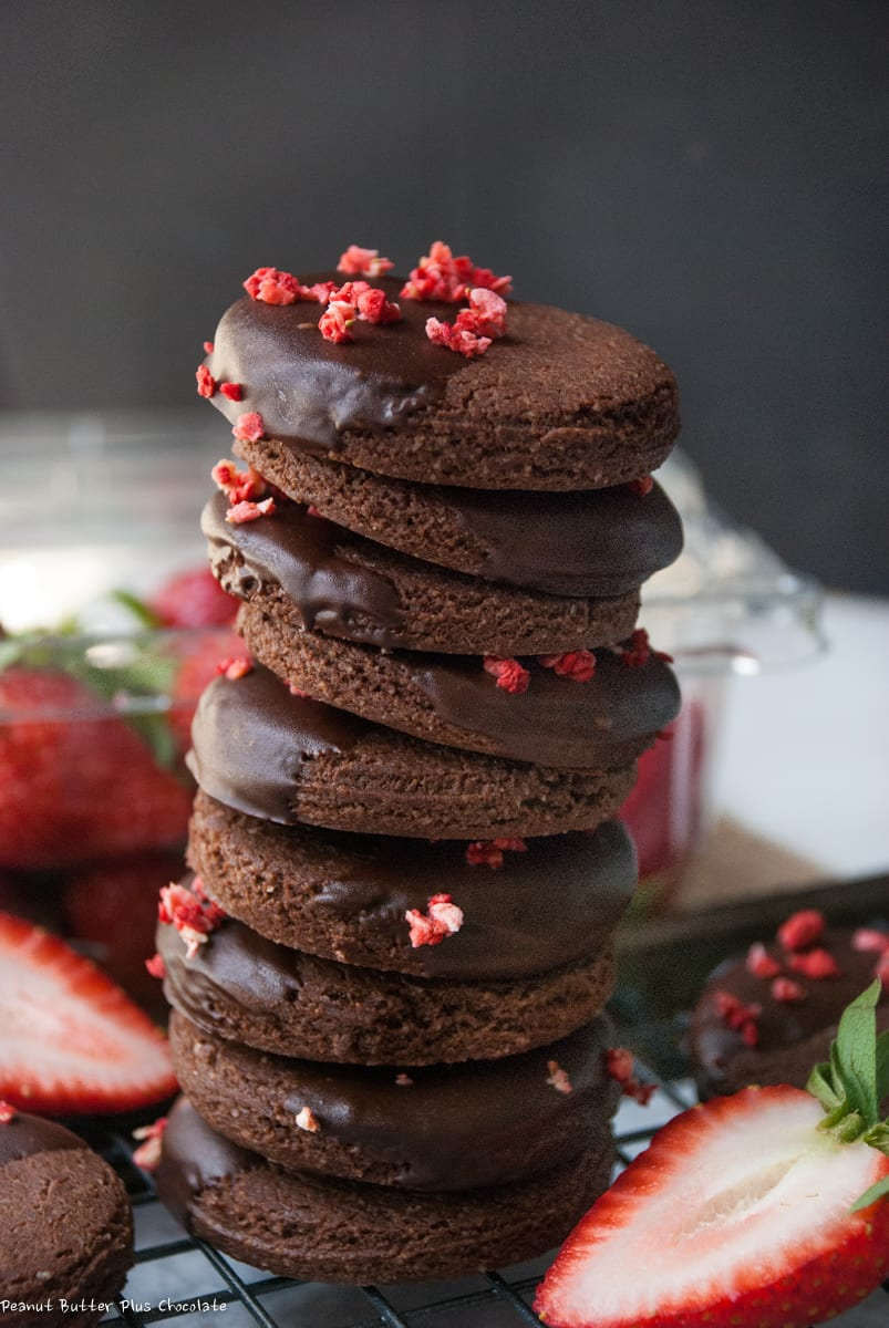 Healthy Chocolate Dipped Shortbread Cookies with Freeze Dried Strawberry Crumbles