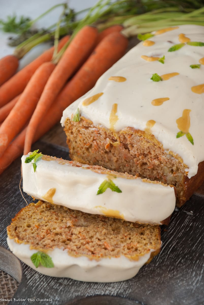 Healthy Carrot Cake Banana Loaf with Cream Cheese Frosting
