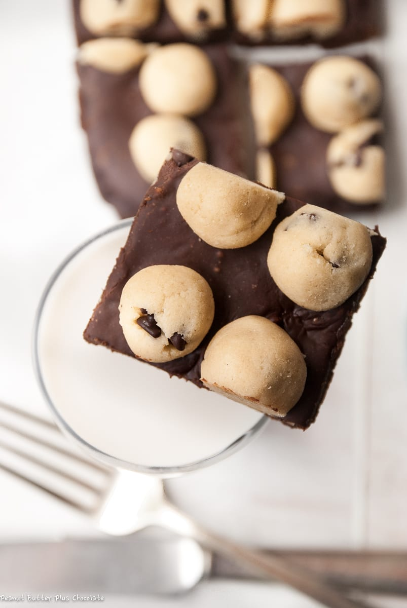 Healthy Chocolate Chip Cookie Dough Fudge Layered Brownies made Gluten-Free, Vegan and High Protein