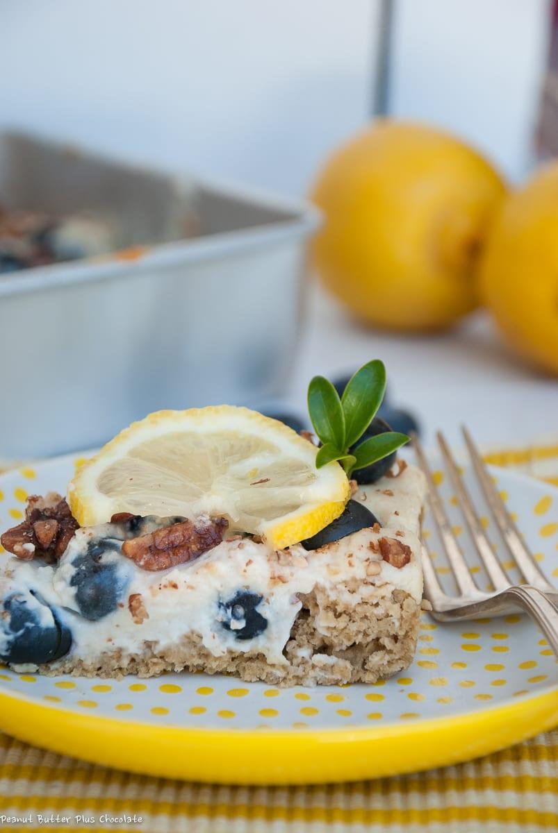 Healthy Lemon Blueberry Breakfast Cheesecake