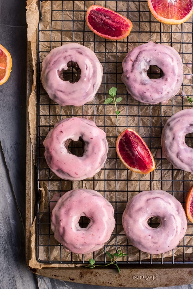 Healthy Baked Chocolate Donuts with Blood Orange Glaze