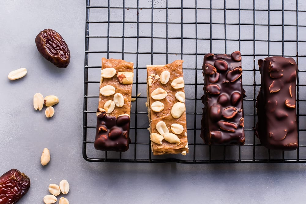 Healthy Caramel Peanut Nougat Candy Bars