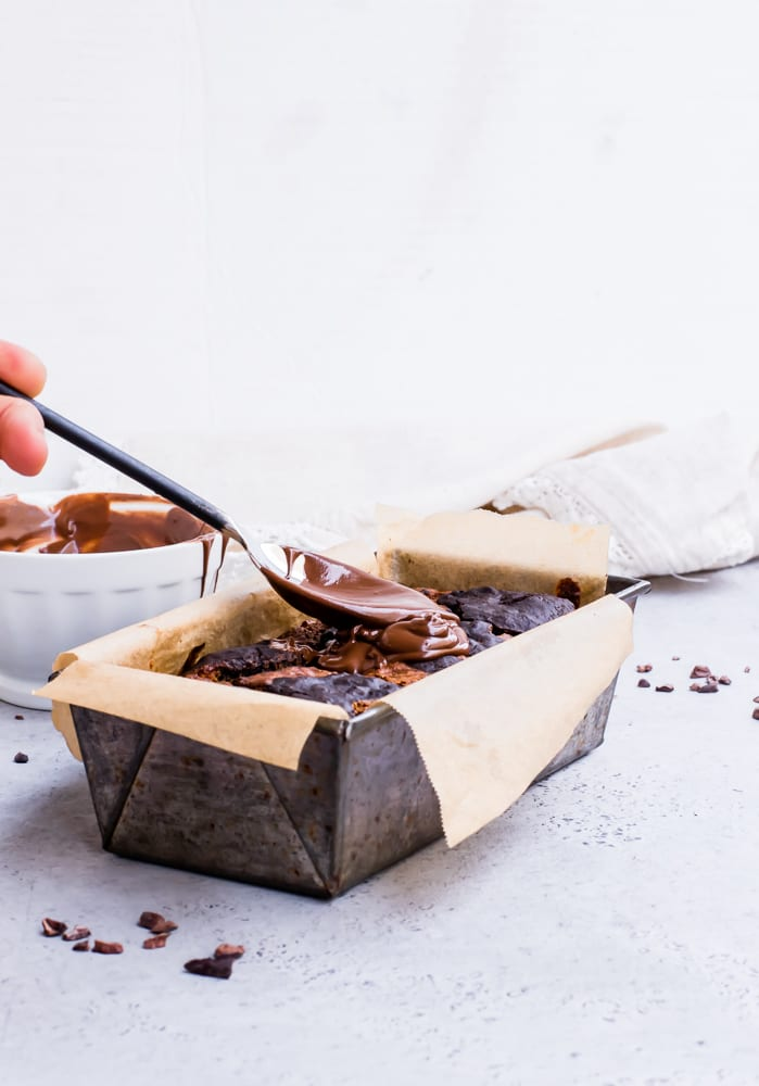 Healthy Chocolate Marble Banana Bread with Chocolate Ganache