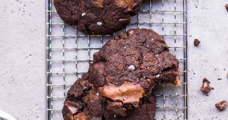 Double Chocolate Caramel Stuffed Vegan Cookies
