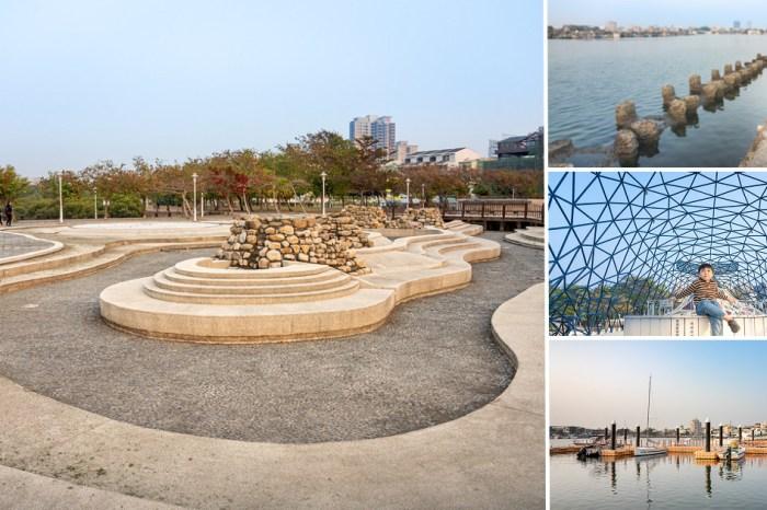 台南公園|碧海藍天的浪漫海景,安平港濱水岸公園散散步|港濱歷史公園,大魚祝福/林默娘公園/深海歷險趣