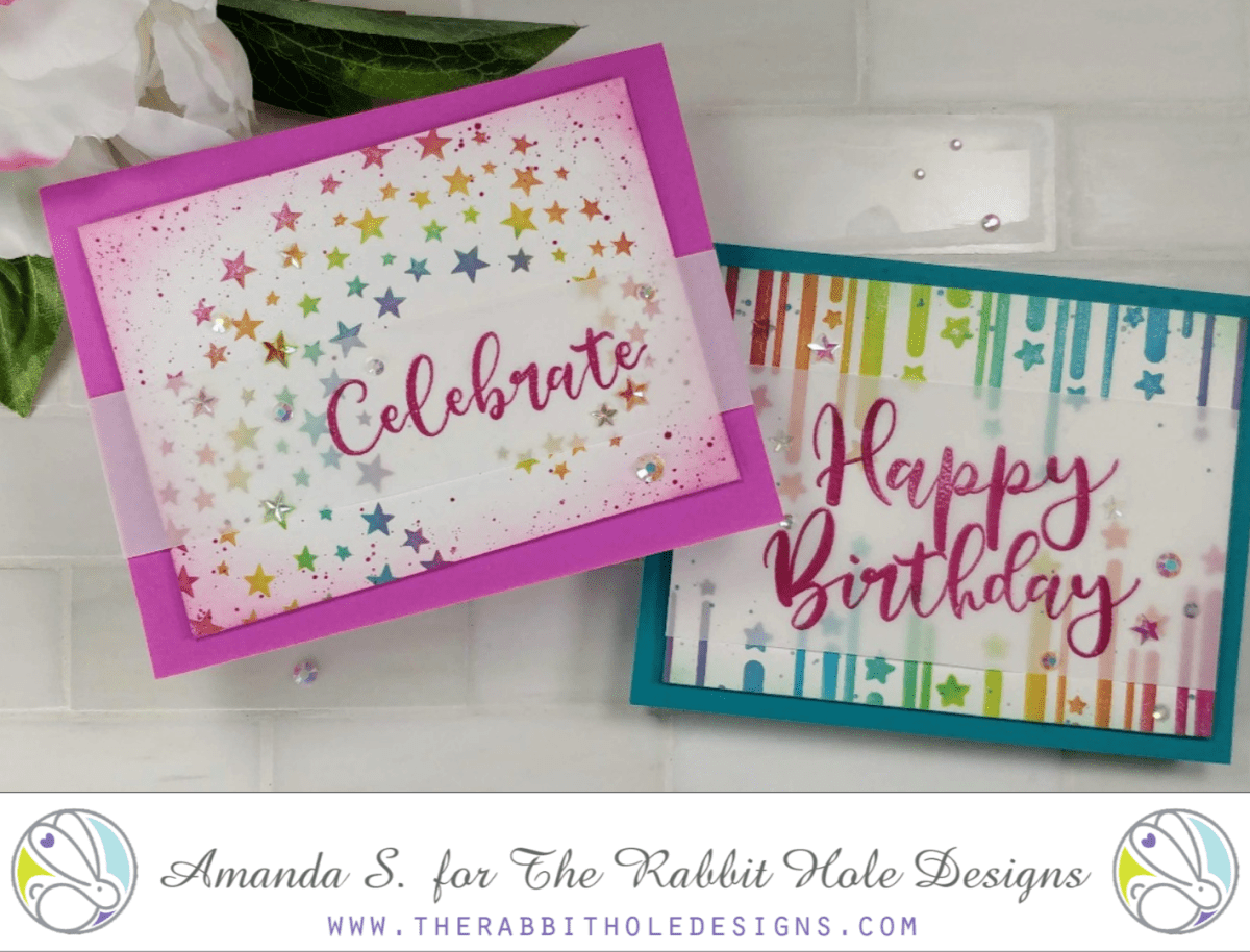 Rainbow Stenciled Birthday Cards