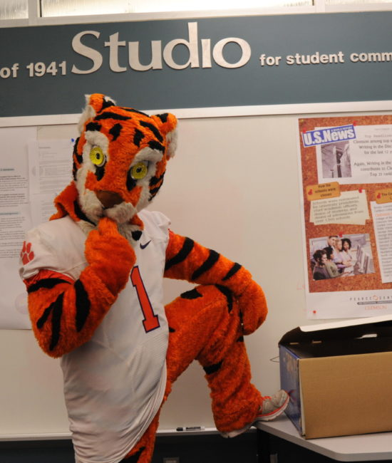 4/16/2013 - The Tiger posing in the Pearce Center in Daniel Hall.