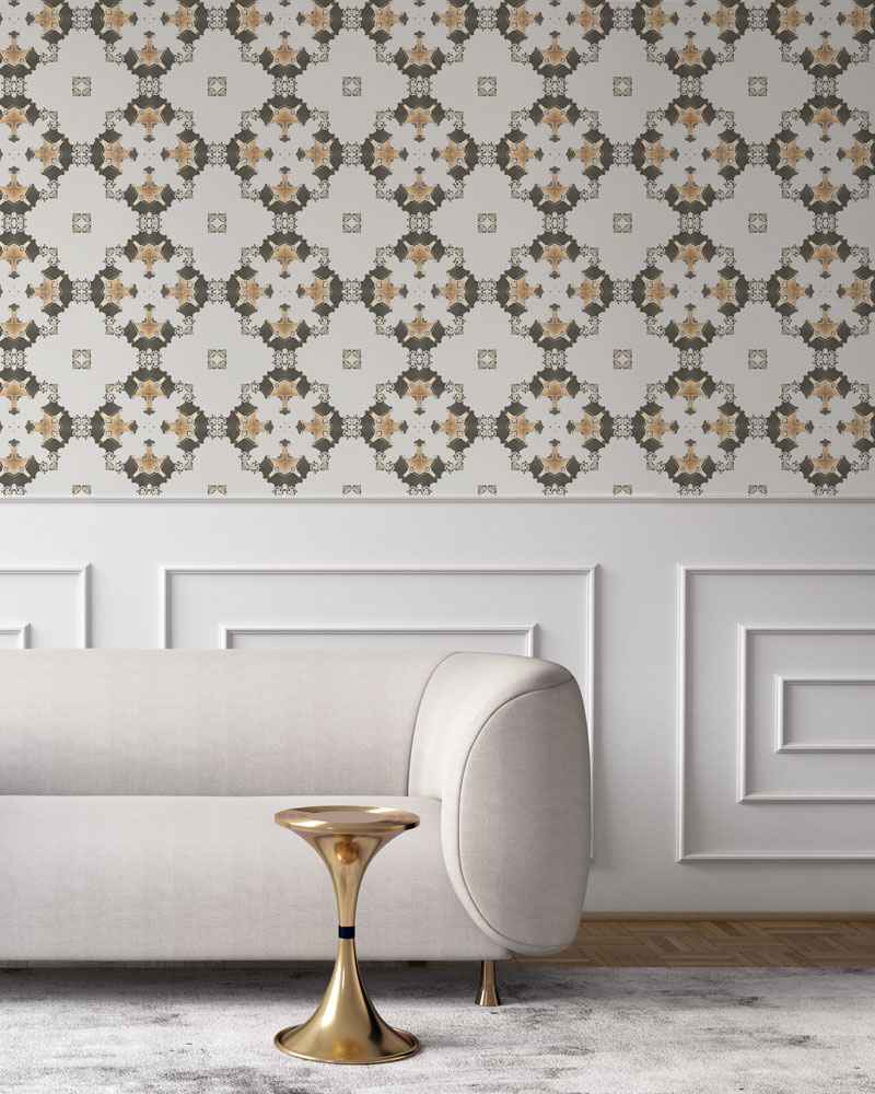 Taupe, cream and gold wallpaper designed in Los Angeles makes this sophisticated art deco interior more luxurious. Design - Eva by Pearl and Maude. Vellum wallpaper comes untrimmed. Standard wallpaper comes pre-pasted.