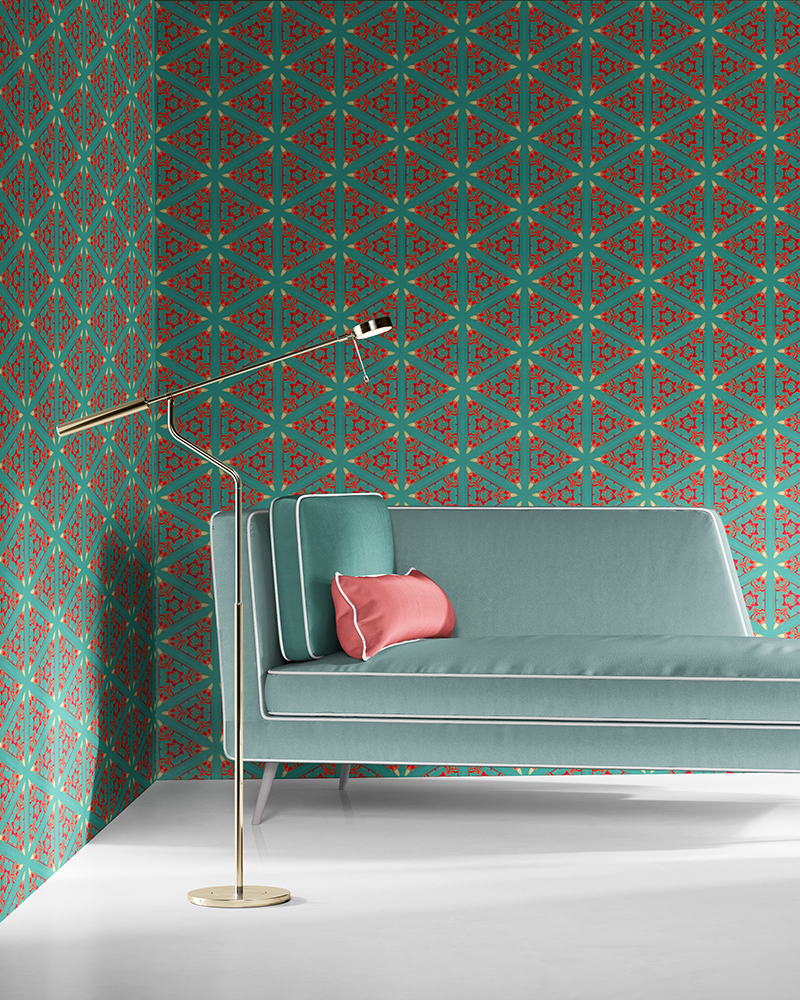 Bunsen in aqua, coral and red is a geometric and colorful artisanal wallpaper designed in Los Angeles. Design - Bunsen by Pearl and Maude. Vellum wallpaper comes untrimmed. Standard wallpaper comes pre-pasted.