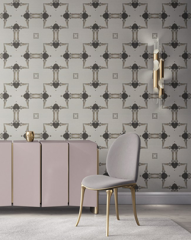 Dido is a traditional, tailored wallpaper in neutral grey taupe on white. This lattice patterned wallpaper is perfect for traditional interior design. Design - Dido by Pearl and Maude. Grasscloth wallcovering comes untrimmed.