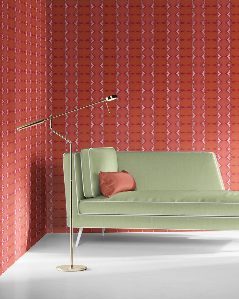 Evelyn in melon red and magenta is a unique wallpaper stripe designed in Los Angeles. Design - Evelyn by Pearl and Maude. Vellum wallpaper comes untrimmed. Standard wallpaper comes pre-pasted.