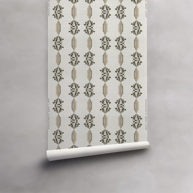 Roll of grey, gold and white wallpaper on grasscloth. Design - Charlie by Pearl and Maude