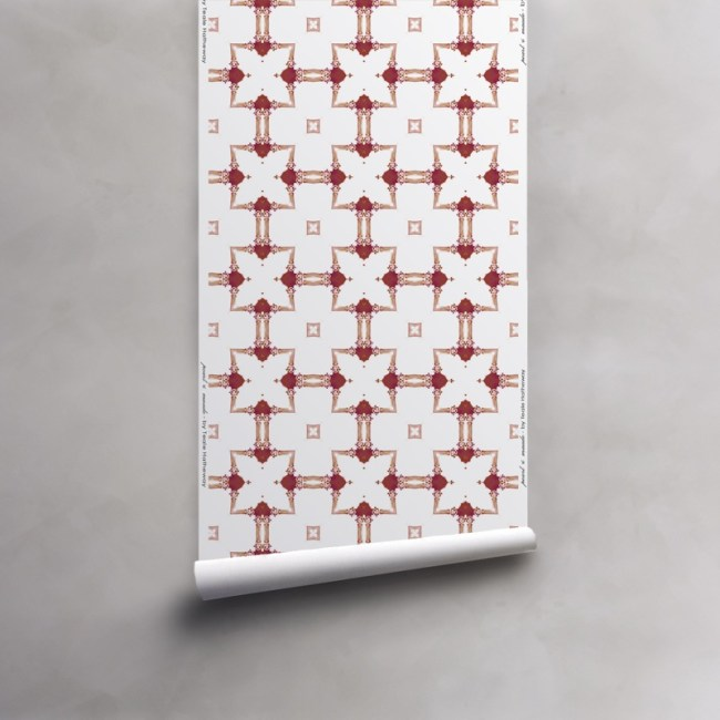Roll of red and white wallpaper on non-woven vellum. Design - Dido by Pearl and Maude