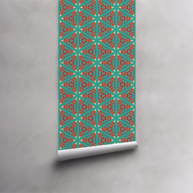 Roll of turquoise, red and coral wallpaper on pre-pasted standard roll. Design - Bunsen by Pearl and Maude