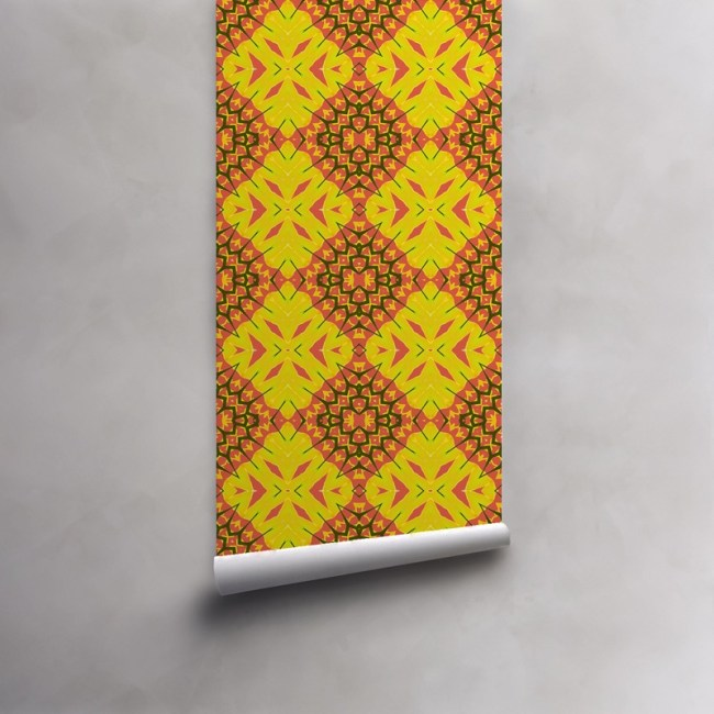 Roll of coral and yellow wallpaper on pre-pasted standard roll. Design - Yellow Diamonds by Pearl and Maude