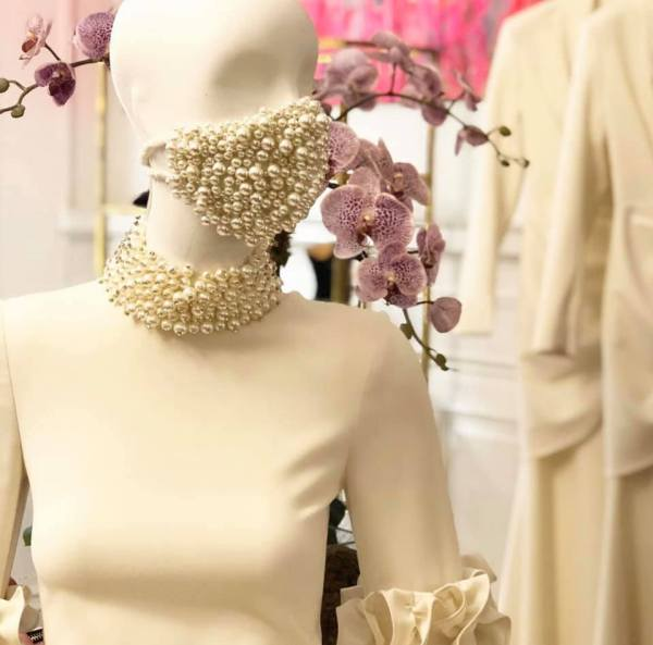 pearl encrusted face mask