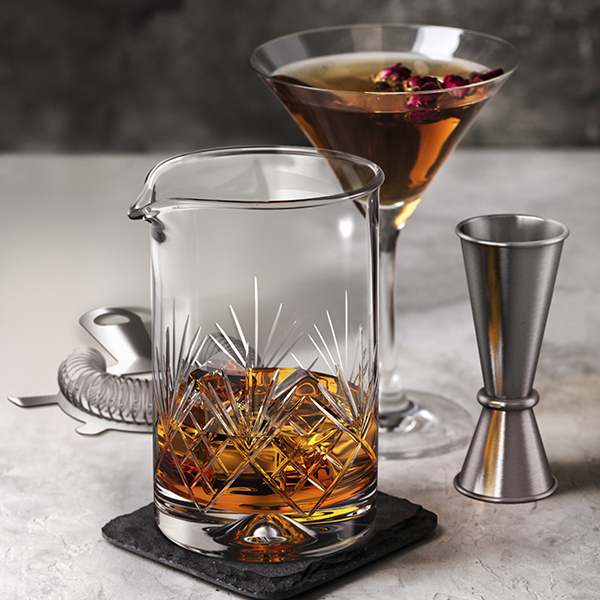 crystal cocktail mixing glass for beautiful fall cocktails