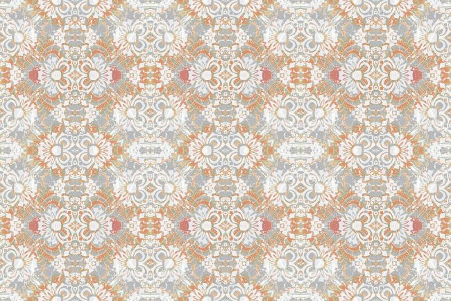 Pearl & Maude's abstract floral Carmen wallpaper in clay pink and grey