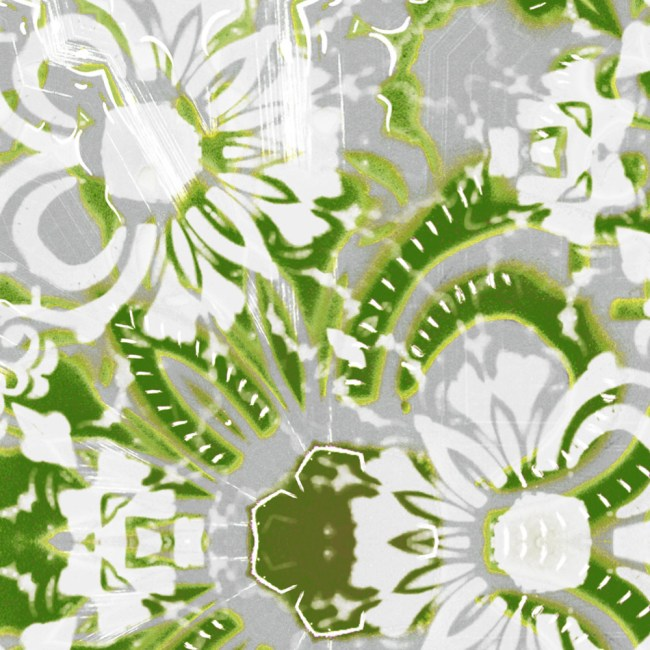 A detail swatch of Pearl & Maude's abstract floral Carmen vellum wallpaper in moss green and grey