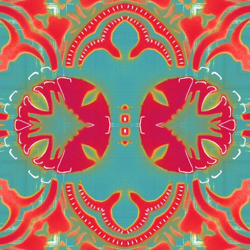 A coral red, magenta and turquoise art print reminiscent of William Morris' Arts and Crafts designs.